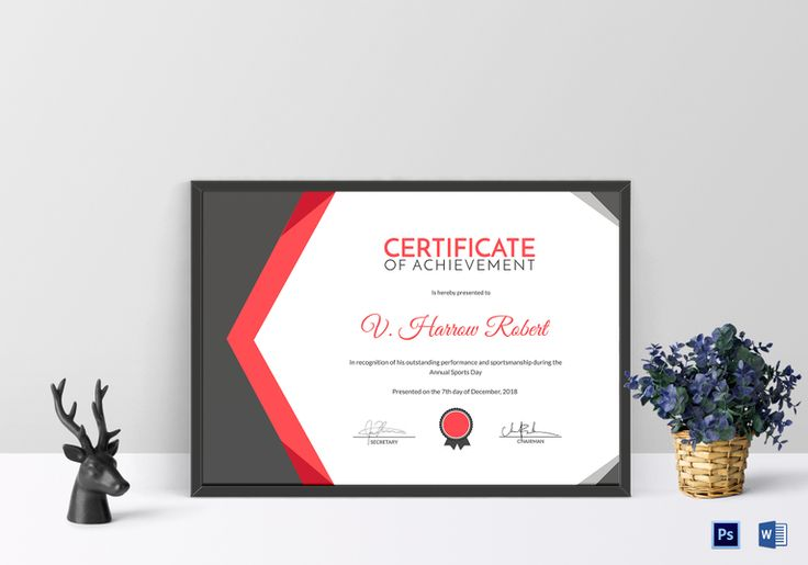 Sports Day Achievement Certificate Template  $9.99  Formats Included : MS Word, Photoshop   File Size : 11.69x8.26 Inchs  #Certificates #Certificatedesigns #AppreciationCertificates