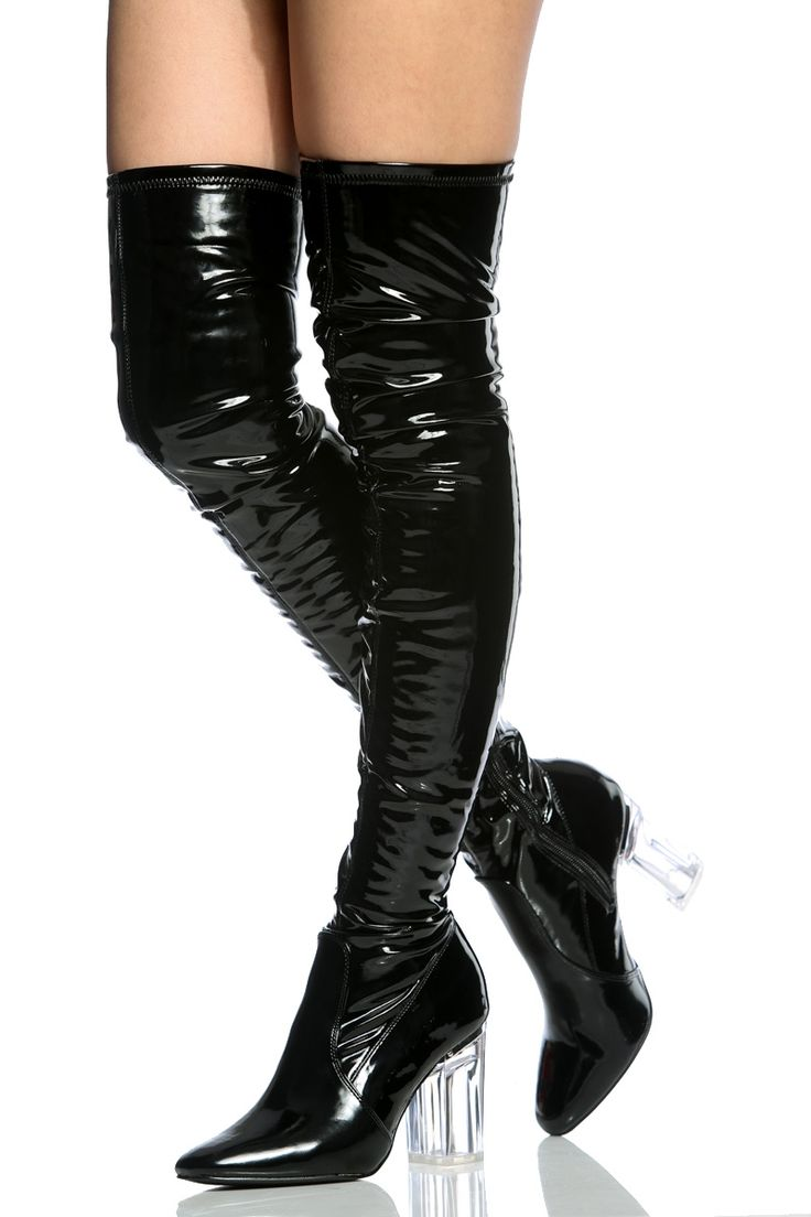 Black Faux Patent Leather Chunky Translucent Thigh High Boots @ Cicihot Boots Catalog:women's winter boots,leather thigh high boots,black platform knee high boots,over the knee boots,Go Go boots,gladiator boots,womens dress boots,skirt boots.