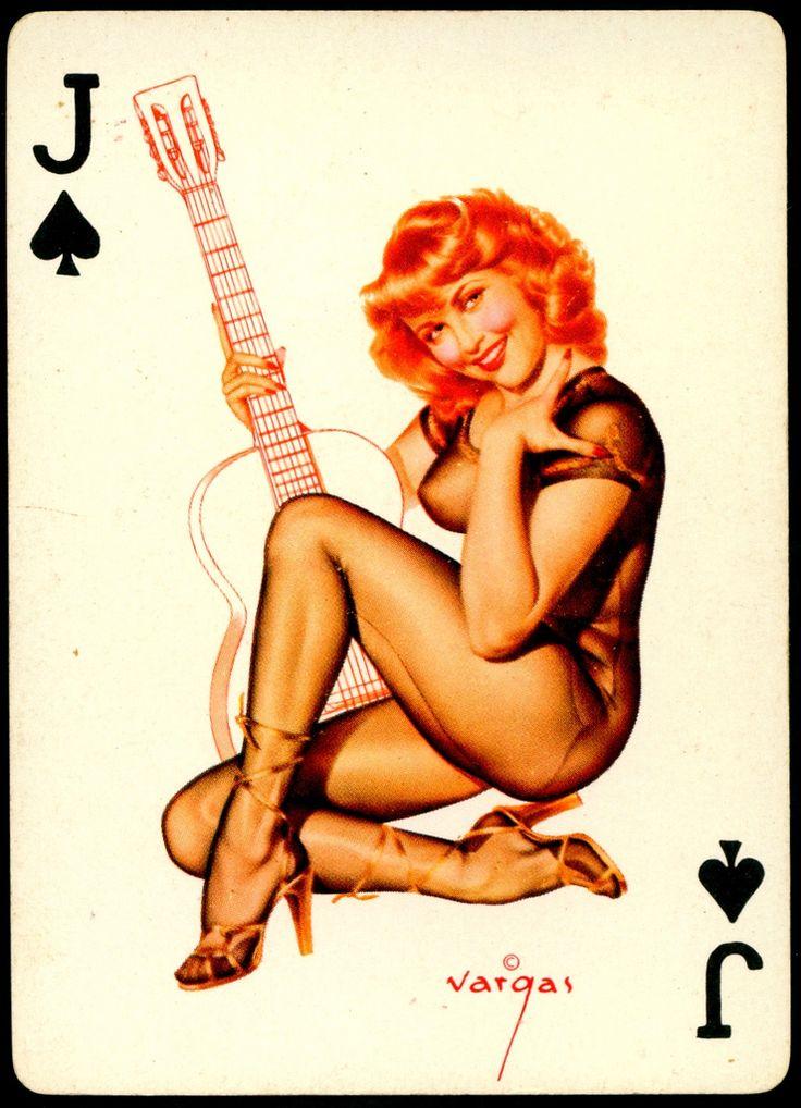https://flic.kr/p/djwSUp | Vargas Pin Ups Jack of Spades | Pin Up playing card by Alberto Vargas, c1950's