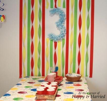 Boy Birthday Party Decor   Crepe Paper Streamer Wall And Birthday Number  Wreath.