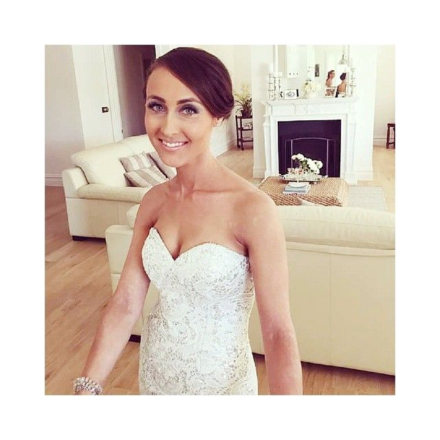 """""""♡ A S H L E I G H ♡  #bride #weddingdress #sequin #lace #mua #modelmaterial #hairstylist #hair #beauty #makeupartist"""" Make up and hair by @ashleadysonstyling ... anyone that can pull off a traditional smokey eye as a bride can only be stunning inside and out"""