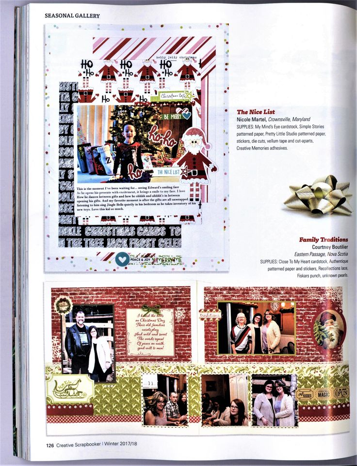 The nice list published by Creative Scrapbooker Winter 2017 Issue