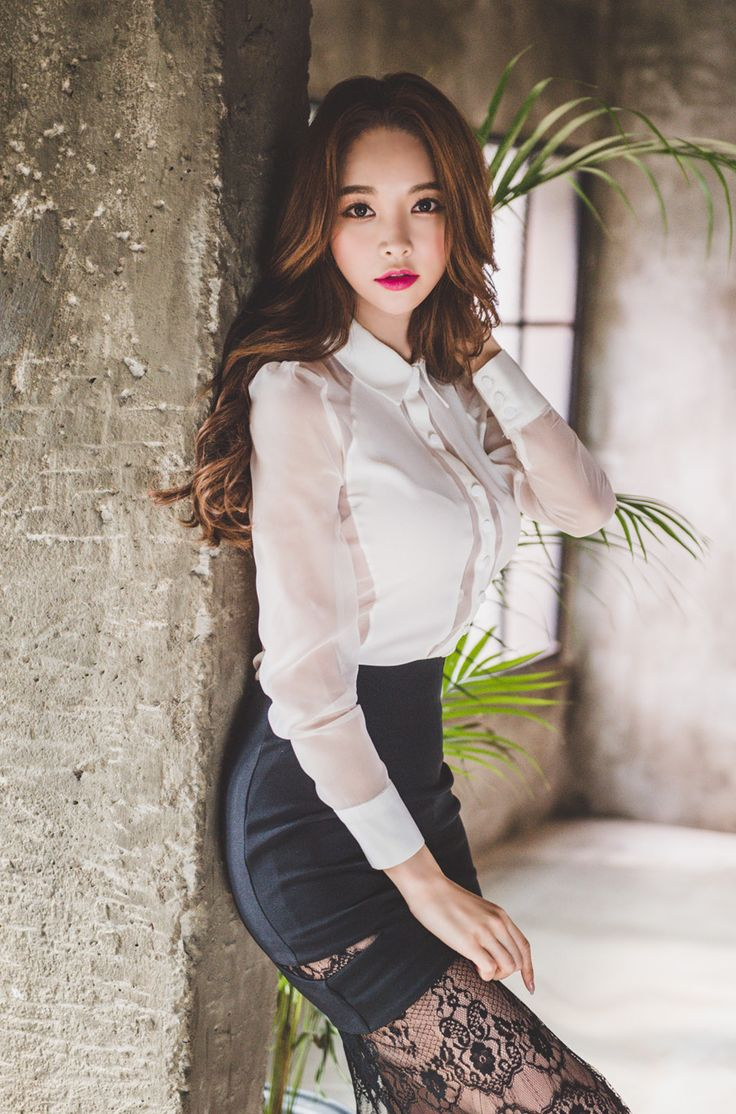 246 best images about Satin blouses and tight skirts on Pinterest | Stockings Satin and Pencil ...