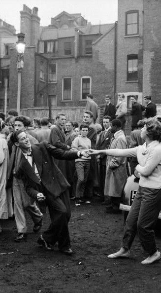 jiving to a skiffle band on bomb debris in 1956 london