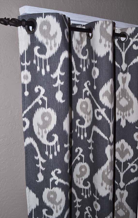 84 Inch Long Charcoal Grey Ikat Grommet by DesignerPillowShop, $120.00
