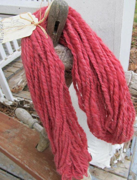 Alpaca Wool Thick Raspberry Pink 2 Ply  Handspun by Crystalheart, $28.00