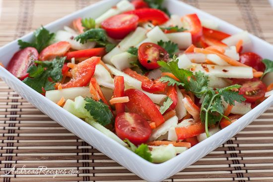 Cucumber Salad with Tomato, Bell Pepper, and Spicy Thai Lime Vinaigrette, easy and full of flavor!