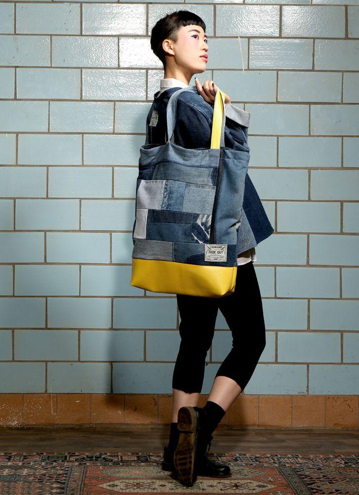 royal shopper bag fade out label denim leather