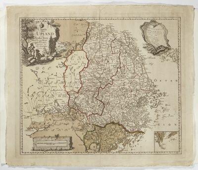 Karta över Uppland, 1742
