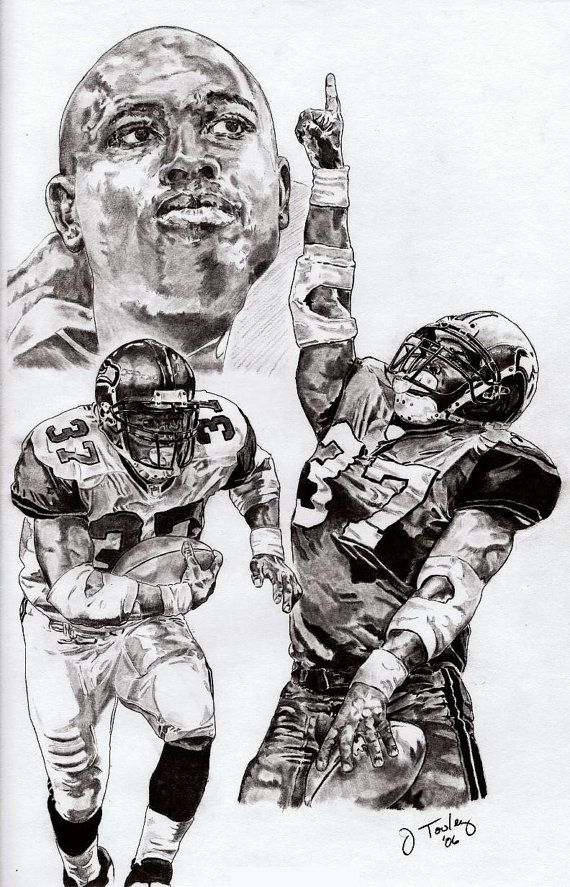 custom seahawk art | Seattle Seahawks Shaun Alexander Art Poster