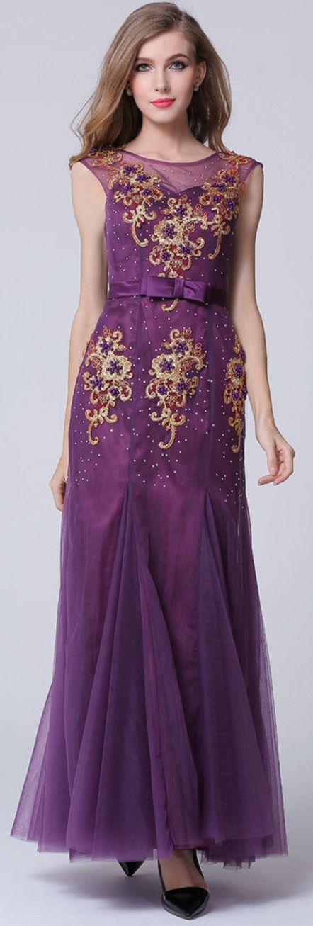 Grape Sleeveless Beading Embroidered Maxi Dress