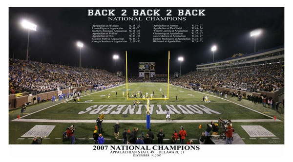 Appalachian State Football Back 2 Back 2 Back (2007) Premium Poster Print