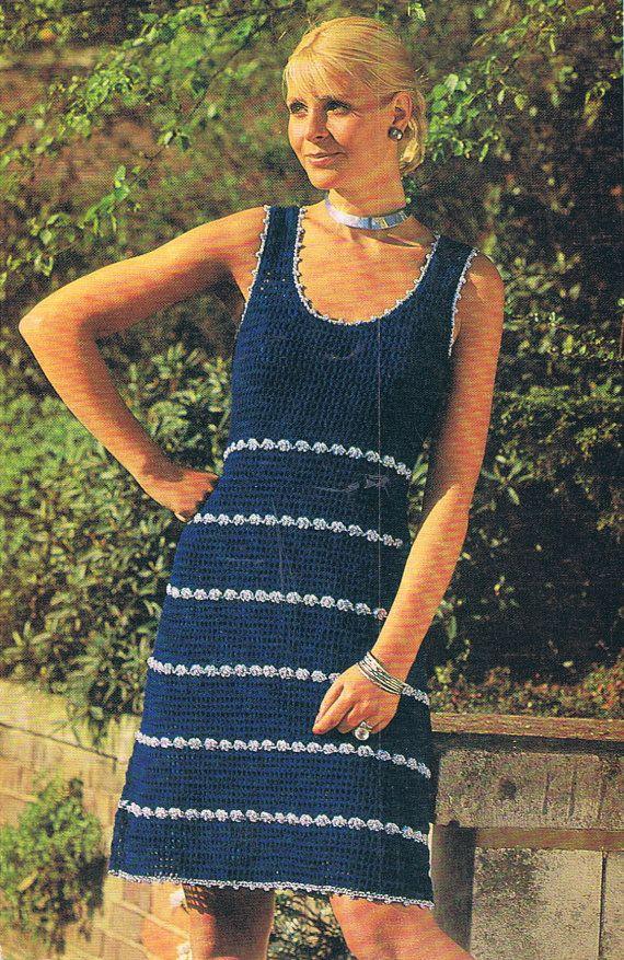 Crochet Dress Pattern Smart Summer Dress Vintage PDF (T128). $3.20, via Etsy.