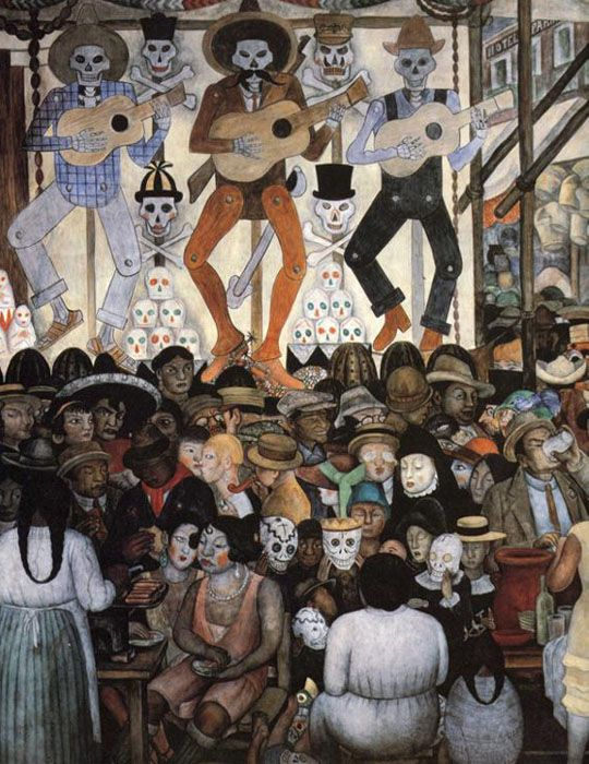 Día de Muertos Fiesta en la ciudad - Diego Rivera. Patio de Las Fiestas, Secretaría de Educación Pública, Ciudad de México. 1923-1924