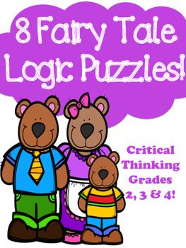 I created these 8 logic puzzles for beginners. They each have a fairy tale theme. I used characters from popular fairy tales such as Goldilocks and the Three Bears and Snow White. The clues I used were made up by me and may or may not be part of the actually fairy tale.