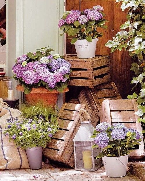 Container garden floral arrangement with old crates and lantern. Sweet Romantic touch.