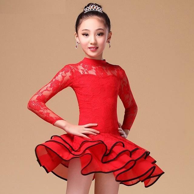 2017 Childrens Latin Salsa Ballroom Dance Dress Girls Dancewear Costumes #FY1031