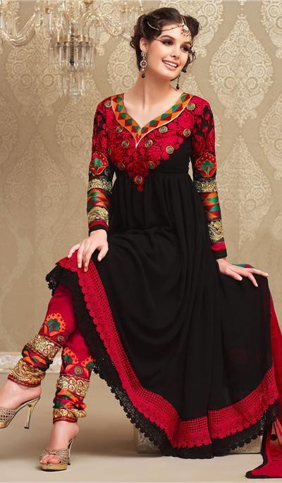 G3 fashions Black Grorgette Party Wear Designer Salwar Suit  Product Code…