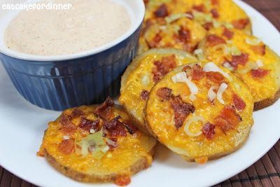 Bite-Sized Potato Skins w/ Chipotle Ranch sauce