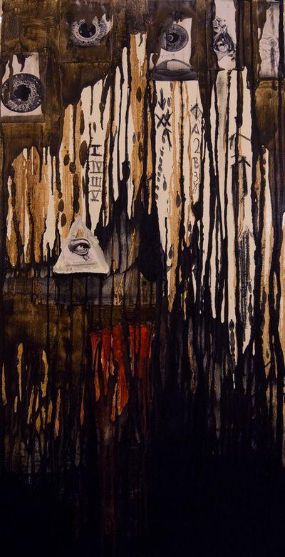 Panopticon - Mixed Media & Encaustic on Wood  www.vasilisangelopoulos.com