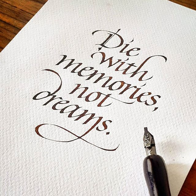 Italic Calligraphy | Quote.Leonardt Tape 2.00 and walnut ink on textured paper.