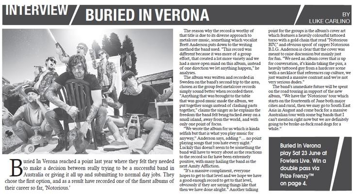 DB Magazine in Adelaide speak to Buried In Verona.