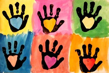 Handprint and Heart Pop Art