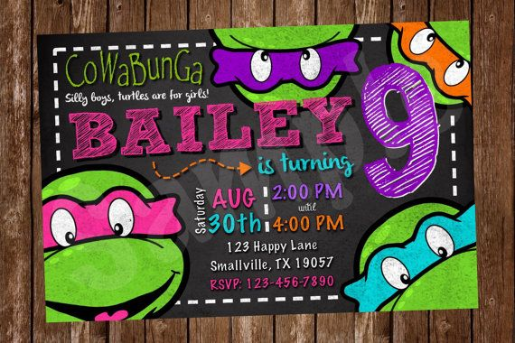 Girl Teenage Mutant Ninja Turtle Birthday Invitation by Denleys