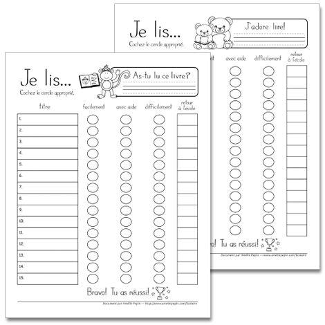 Fichier PDF téléchargeable En noir et blanc 10 pages  Ces fiches de lecture permettent de faire un suivi par les parents et l'enseignant sur 15 livres lus. Le fichier contient 10 modèles d'illustrations pour un total de 150 livres lus.