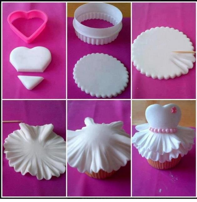 cute Fondant cupcake....these would be terrific for a bridal shower or a teens sweet sixteen party.