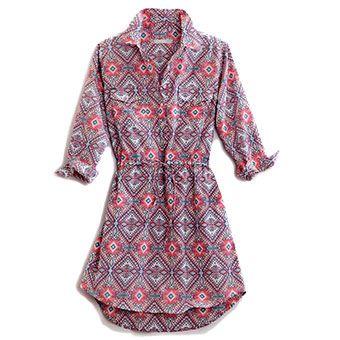 Tin Haul® women's aztec shirt dress.     -1 back yoke     -3/4 sleeve     -1 button cuff     -Drop hem     -Drawstring waist     -Pockets on side seams     -100% Cotton     -Imported Available in sizes XS - XL. #aztec #dress #quartersleeve #pockets #backyoke #spring #apparel
