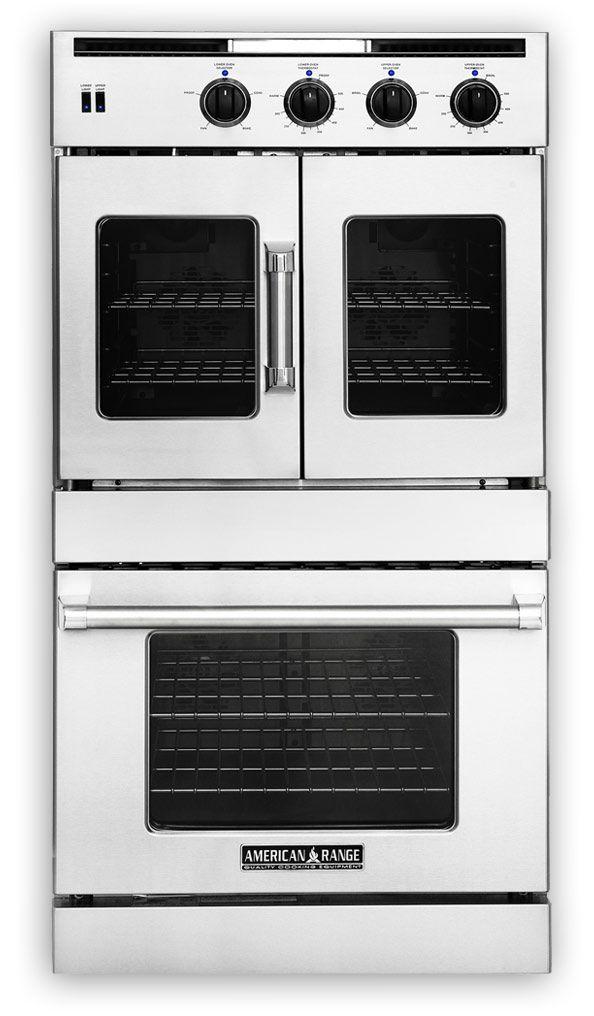 """Model:AROFFG-230 30"""" Legacy series combination French door gas oven and broiler on top Chef door electric oven and broiler on bottom."""