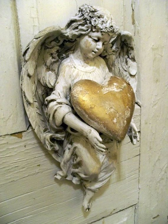 Hand painted distressed angel figurine holding by AnitaSperoDesign                                                                                                                                                                                 More