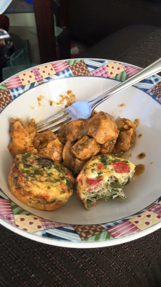 Flavor of week : egg cups made in the oven . Just throw in some pick de gallo , cilantro,and turkey sausage . In a muffin tin and bake