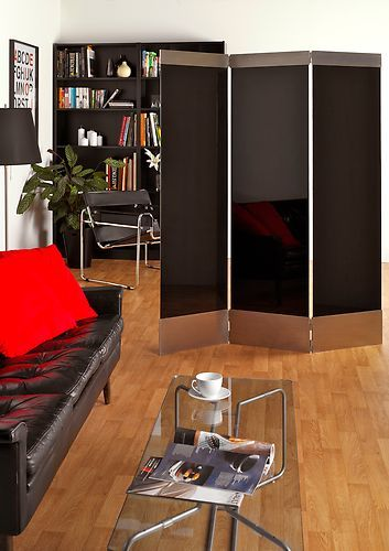 folding privacy screen/room divider Hampton design black glass & brushed steel | eBay