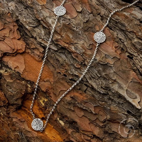Phaistos Disc Sterling Silver Necklace Greek by CircleOfLifeGreece
