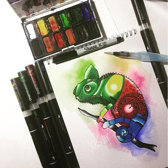 Chameleon sketch pen retro bathroom mirror