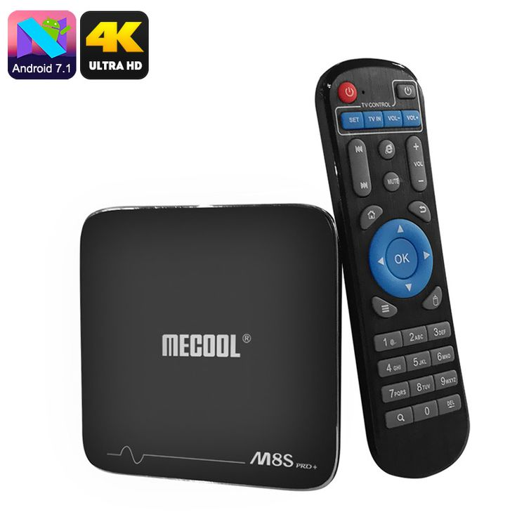 MECOOL M8S Pro Android TV Box - Android 7.1, Quad-Core CPU, 8GB ROM, 32GB SD Card Slot, 4K Support, WiFi, DLNA, Google Play - MECOOL M8S Pro Android TV Box runs on Android 7.1. It supports 4K media and lest you browse the web through WiFi.