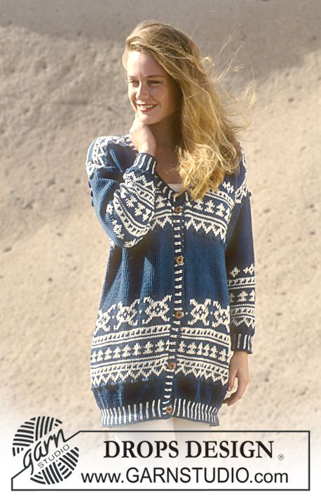 """DROPS 37-18 - DROPS Jacket with pattern and bobbles in """"Paris"""". Size S-L. - Free pattern by DROPS Design"""