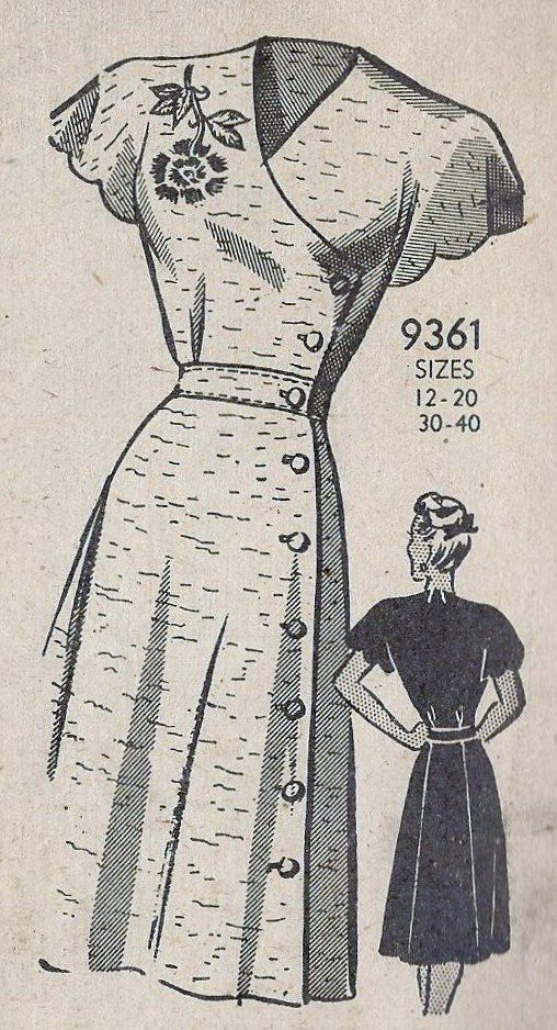1940s Misses Dress Vintage Sewing Pattern. Yet another vintage pattern we adore! Check out our vintage patterns online: www.farmhousefabrics.com
