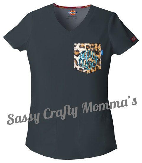 Black Women's Scrub Top with Custom by SassyCraftyMomma on Etsy