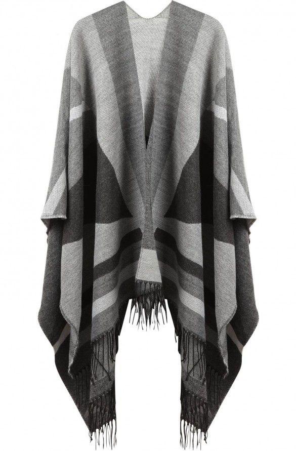 Poncho design geometrique  gris chine - ceintures femme - naf naf 1