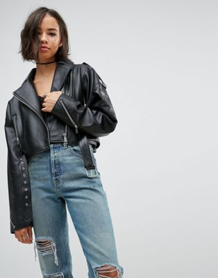 8271f1736627 Oversized Leather Jacket with Zip Detail in 2019