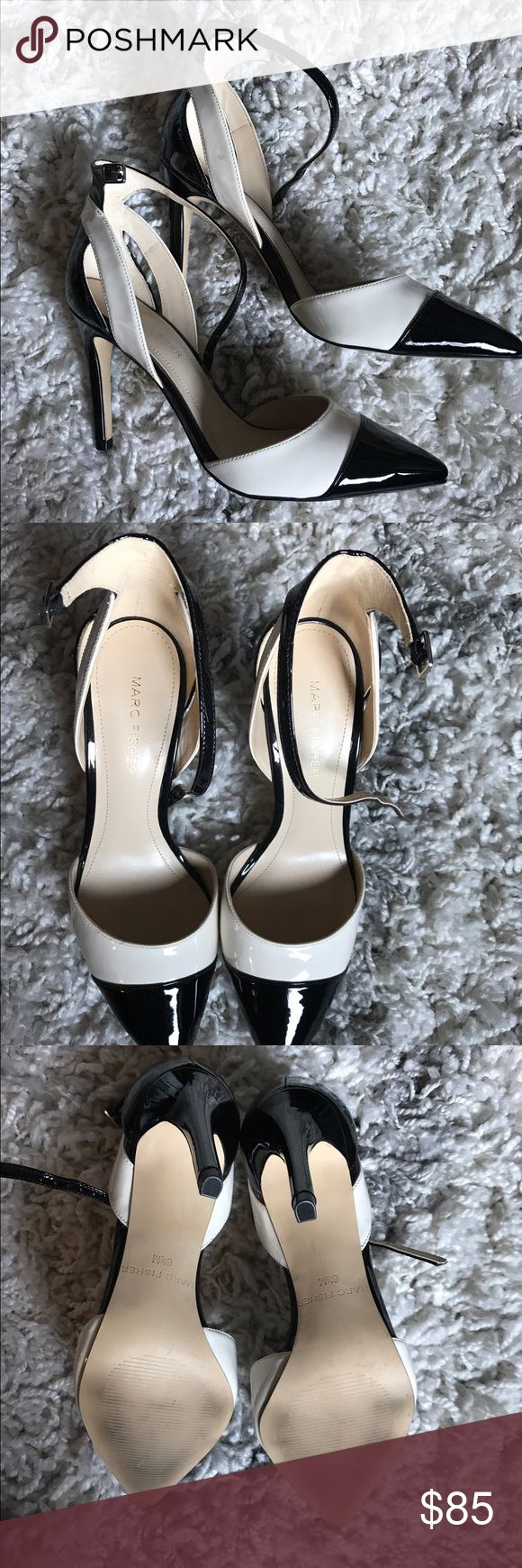 Marc Fisher Black and white strappy heels Awesome work heels, 3.5 inches, super comfortable, only worn once. Marc Fisher Shoes Heels