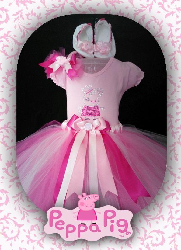 vestido- tutu infantil-peppa pig-festa(saia e blusa)conjunto