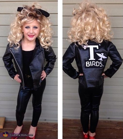 sandy from grease diy halloween costume this little girl is the cutest - Girl Halloween Masks
