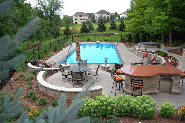 Multi Level Backyard With Pool : concrete patio house ideas outdoor patio pool houses backyard pools