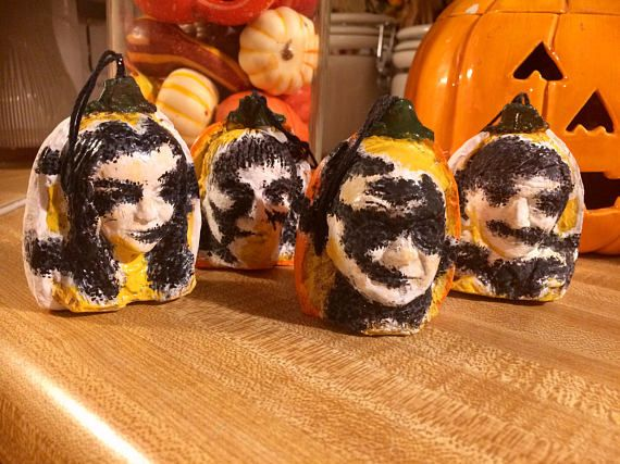 Set of 4 Gomez, Morticia, Lurch and Fester Addams Family Gothic Decay white or orange pumpkin Halloween tree ornaments