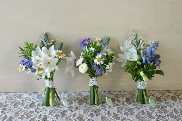 spring bouts - paperwhites, muscari, and chamomile daisys