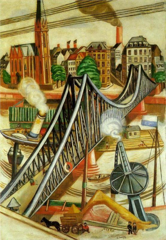 The Iron Bridge (View of Frankfurt) Max Beckmann  DE ESTE PINTOR CREO QUE SOLO TITA CERVERA TIENE ALGO EN LA THYSSEN....SOLO UN PAR DE CUADROS EN TODA ESPAÑA